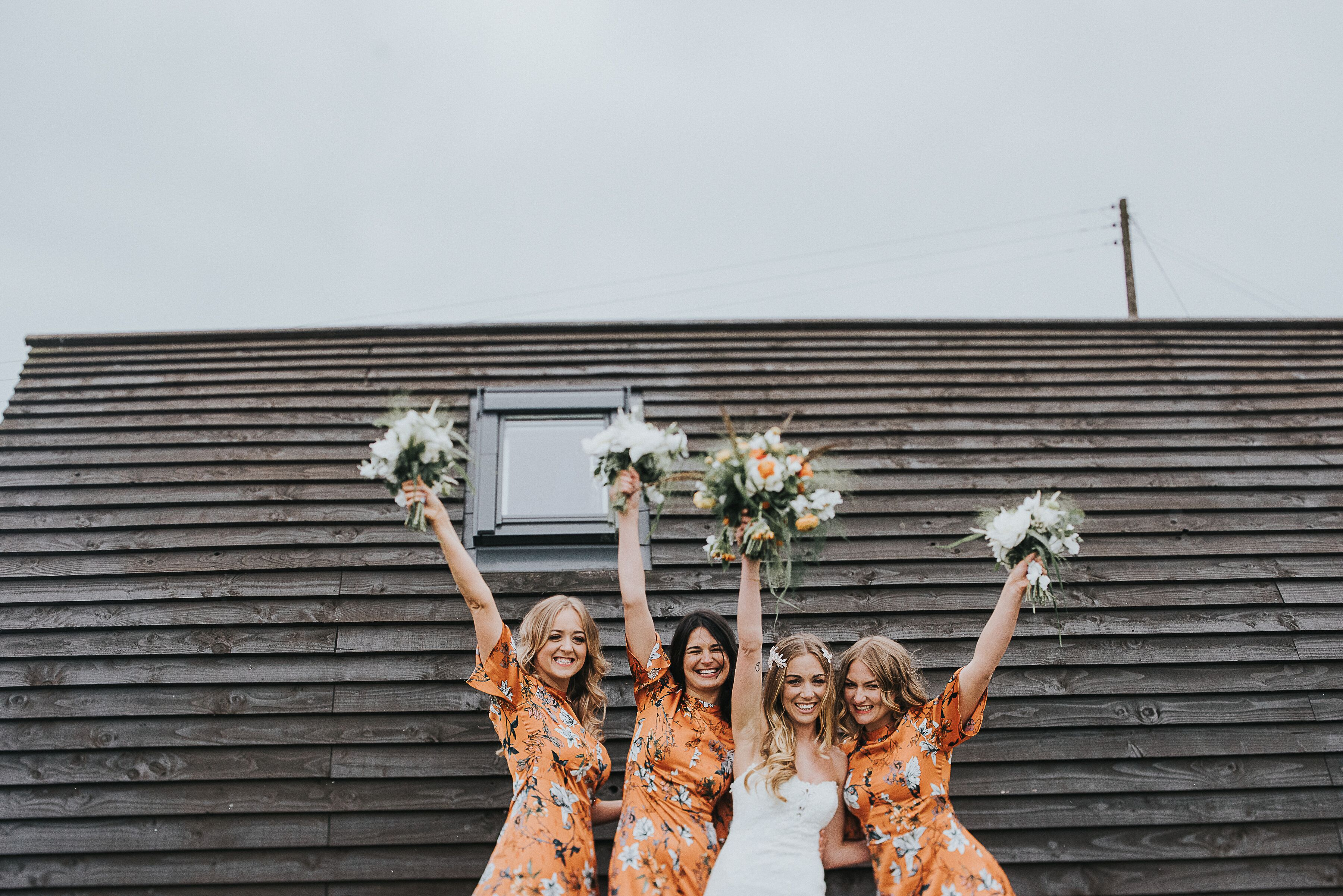 Bride and bridesmaids glamping pod wedding weekend Northside Farm