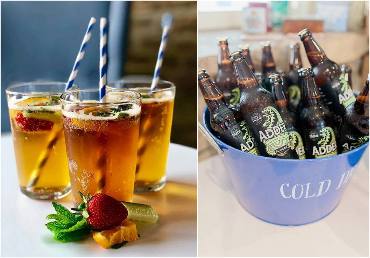 pimms wedding welcome drinks blue bucket filled with cold bottles of beer