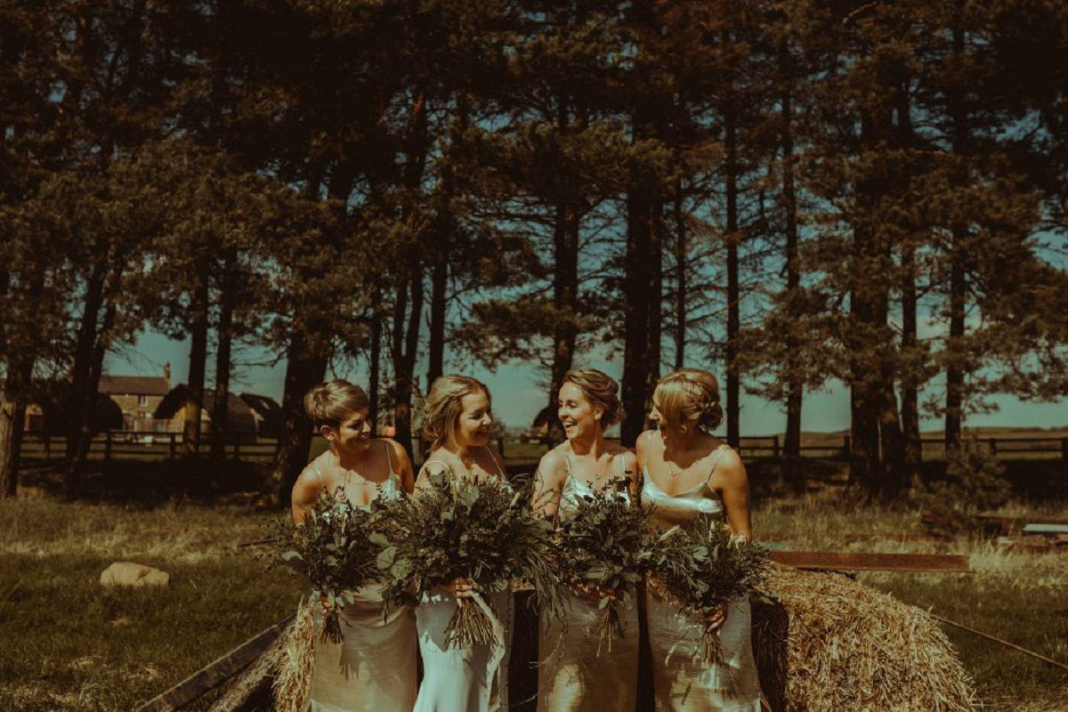 bride and bridesmaids woodland wedding