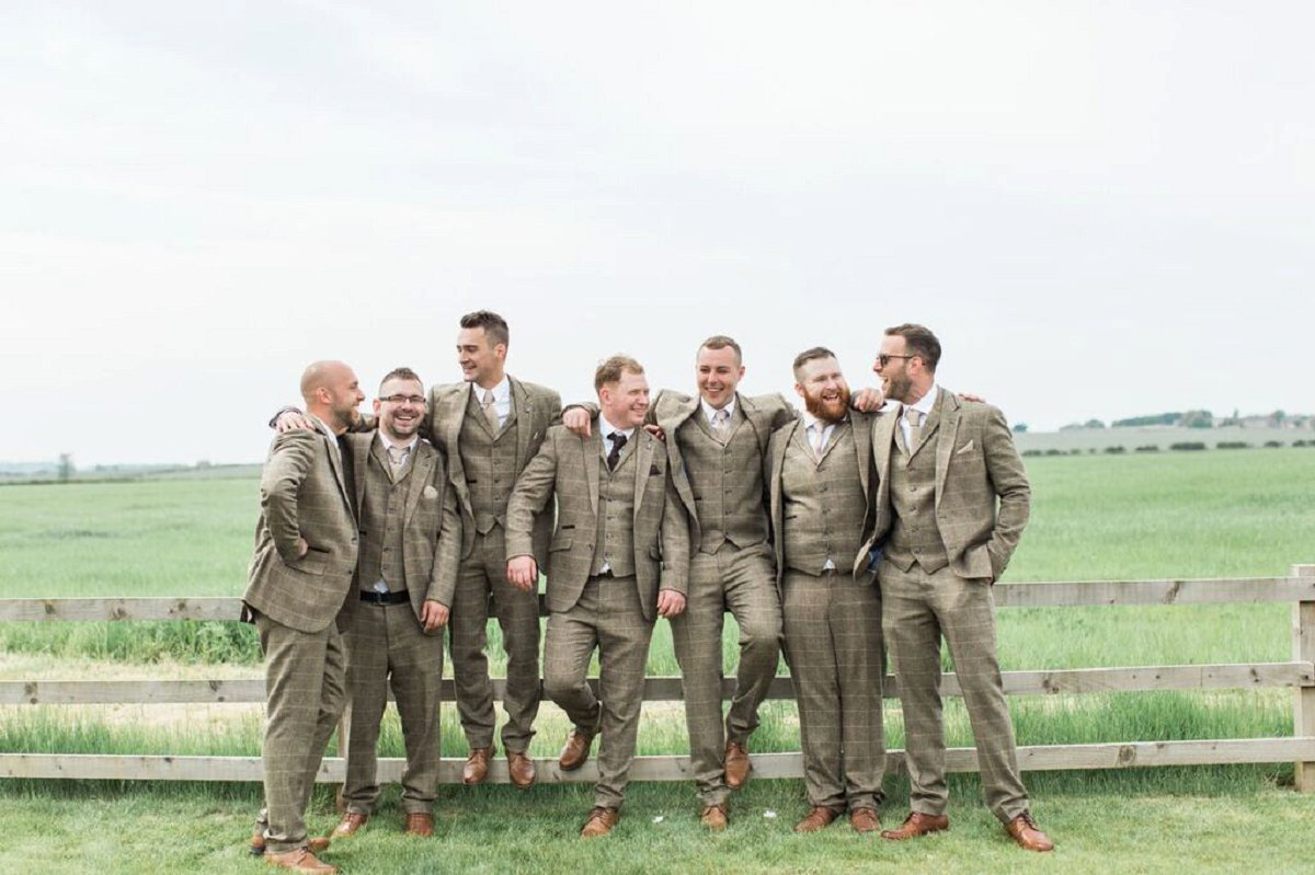 who does what at a weding groomsmen in tweed suits at northside farm