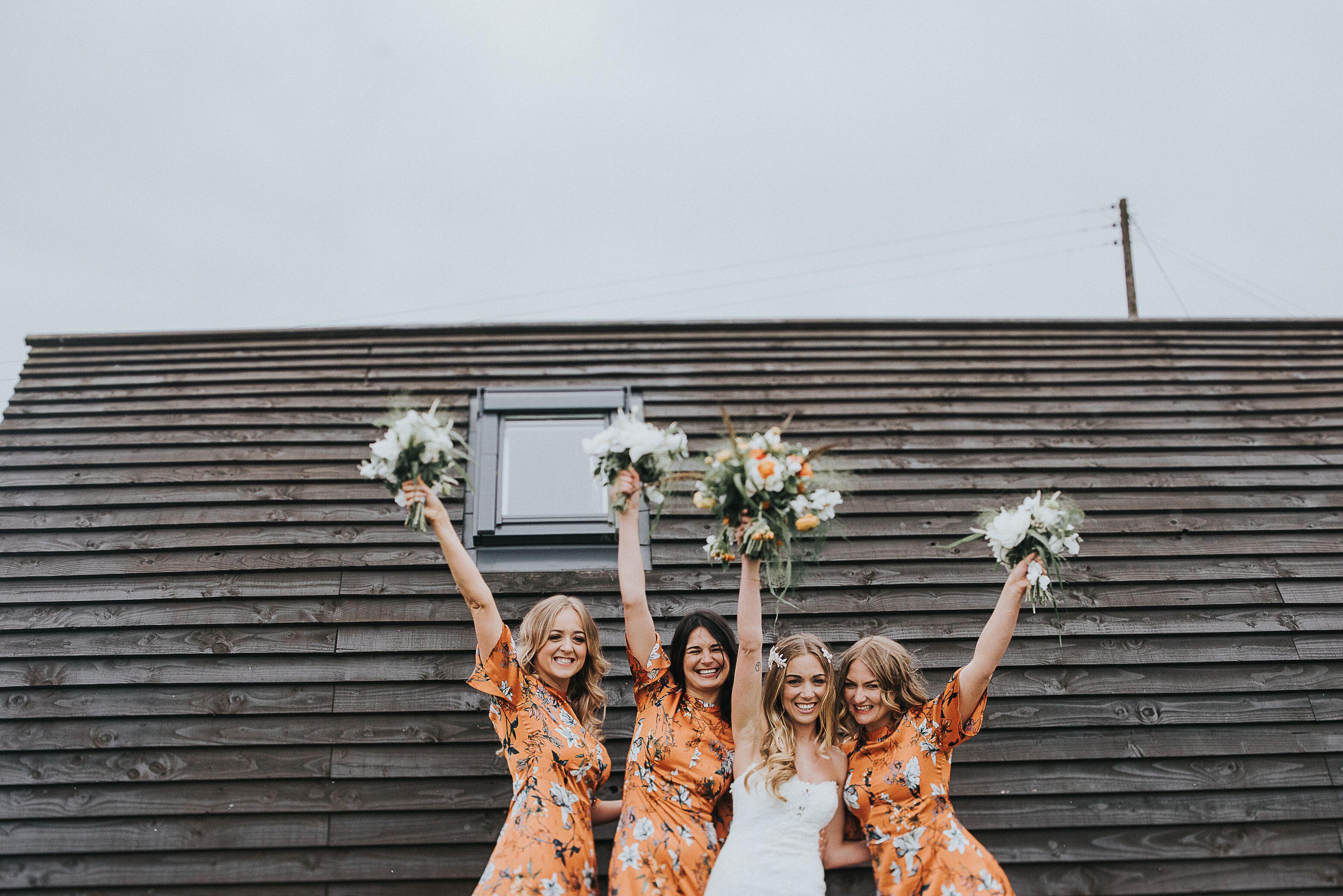 bride and bridesmaids glamping wedding