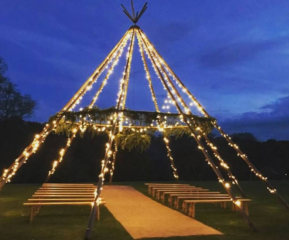 Wooden Frame tipi outdoor wedding ceremony northside farm